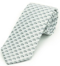 White Silver Gingham Tie